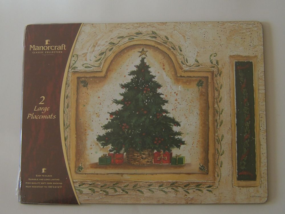 4 Pimpernel Cork Placemats England Christmas Eve Pattern 062 Hardboard Holiday Christmas In England Placemats Christmas Eve