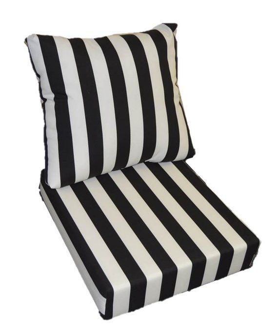 Black White Stripe Cushion For Outdoor Deep Seat Furniture Chair