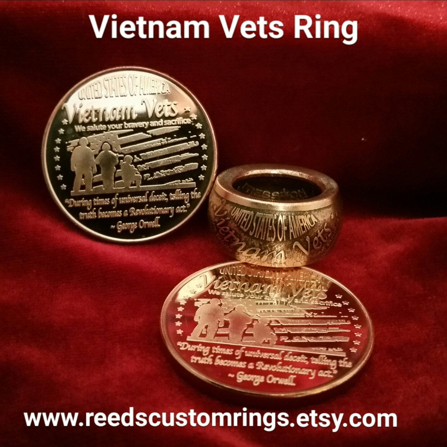 071542fb9135 Vietnam Vets Ring - Hand Forged .999 Fine Copper Coin Ring  vietnamveteran   vietnamvet  veteran  veteranowned  military  patriot  usmc  usarmy  usnavy   uscg ...