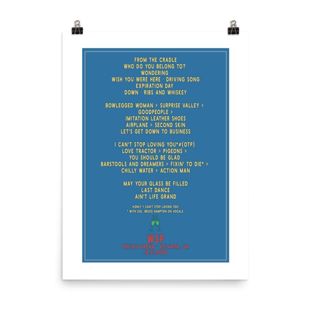 Widespread Panic New Years Eve, 12/31/2006, Setlist Poster ...
