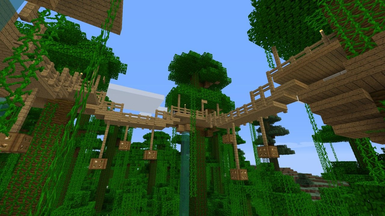 Jungle Tree House Survival Minecraft Project Minecraft Projects Minecraft Tree Minecraft Treehouses