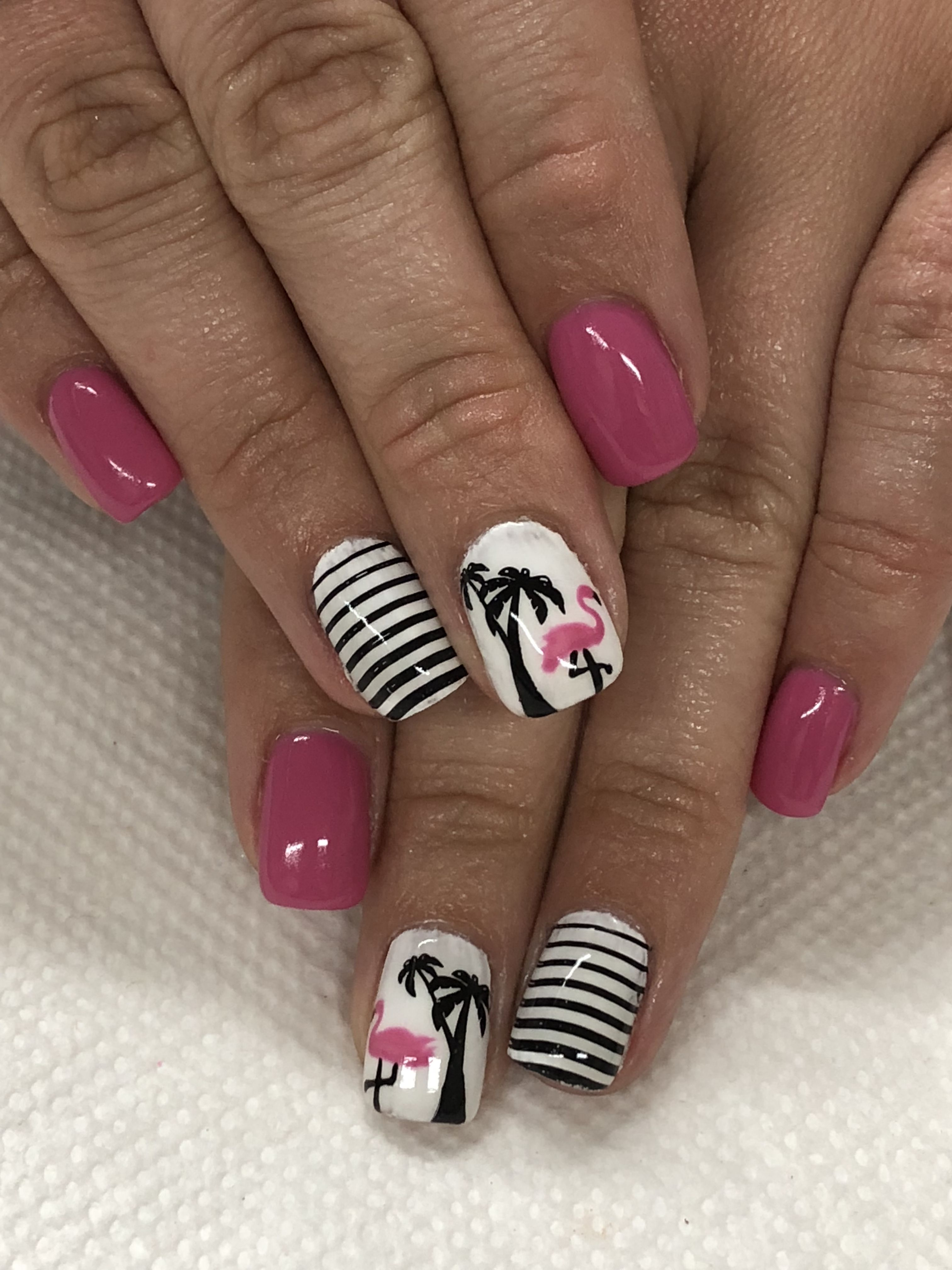 Summer Pink Hand Painted Flamingo Gel Nails Nails Flower Nail Designs Flower Nails