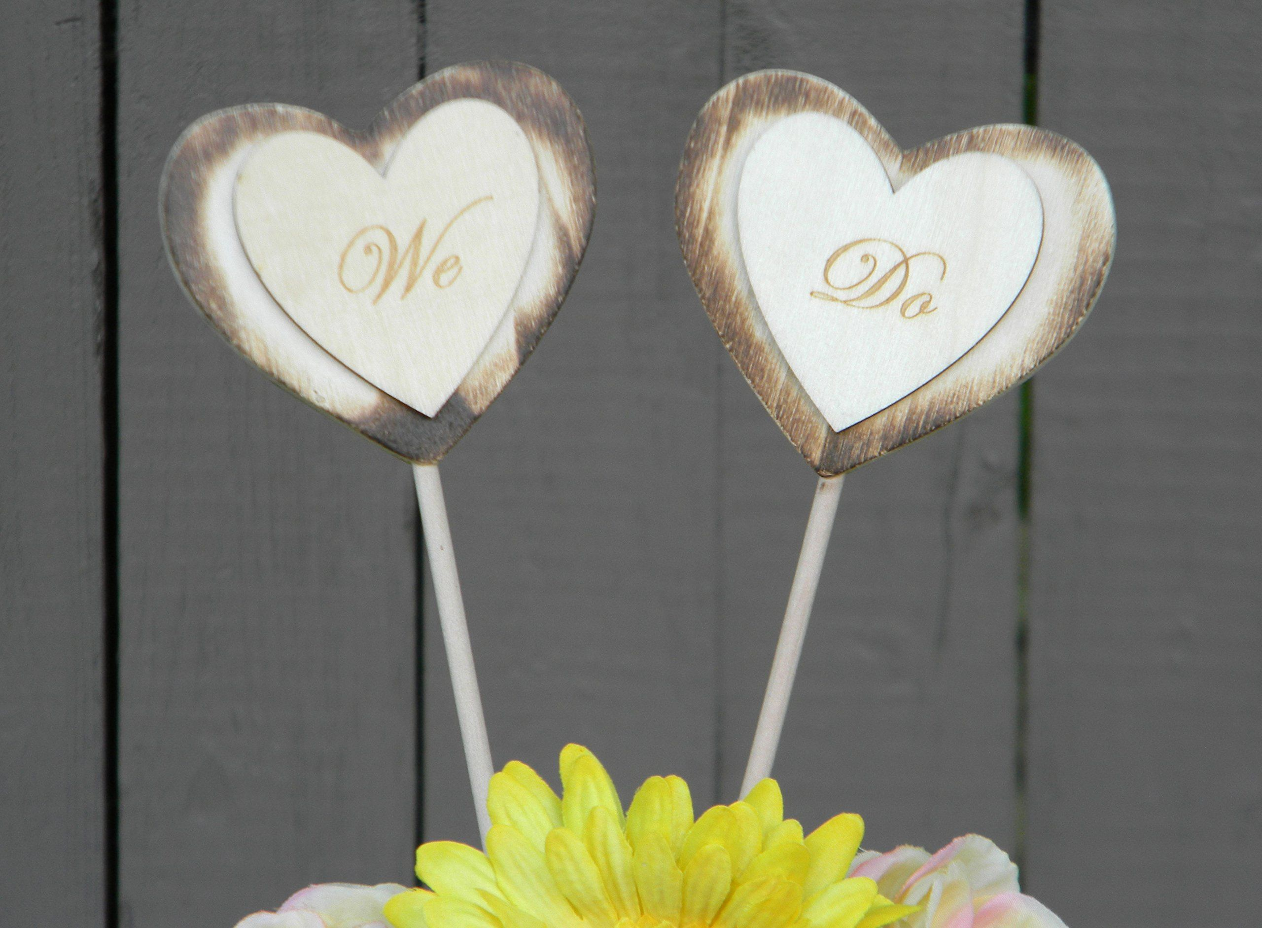 Rustic cake toppers heart wedding cake toppers we do cake toppers