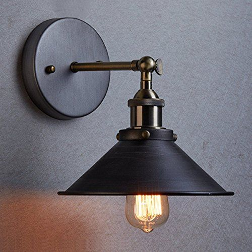 Icase4u vintage metal industrial wall light rustic sconce lamp retro vintage industrial edison simplicity 1 light wall mount light sconces aged steel finished antique lamp with bulb mozeypictures Gallery
