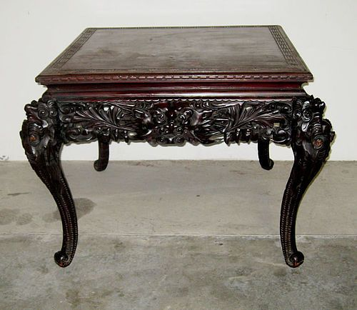 Antique Anese Art Nouveau Carved Wood Dragon Table