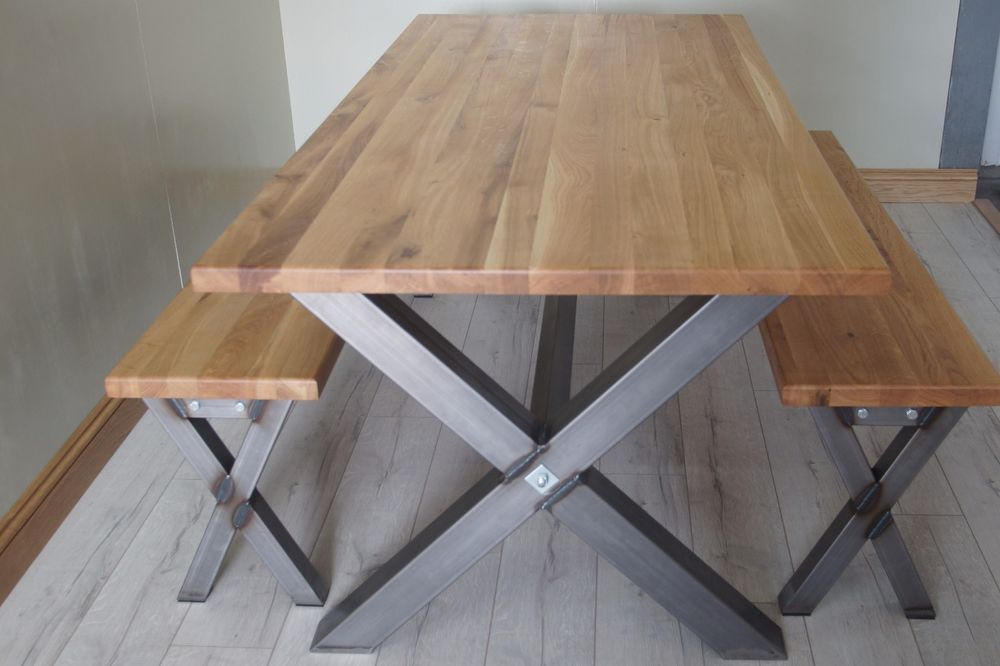 X Cross Shaped Industrial Dining Table Steel Table Legs Solid