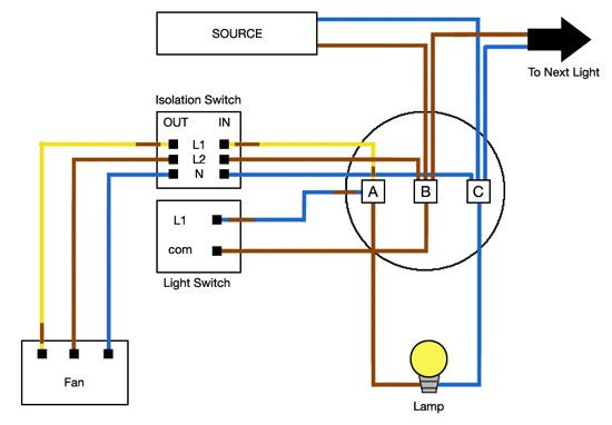 Connecting a Timed Fan Unit | Wiring Diagrams | Home