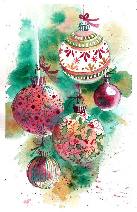 Original aquarell druck der k nstlerischen von - Aquarell weihnachten ...