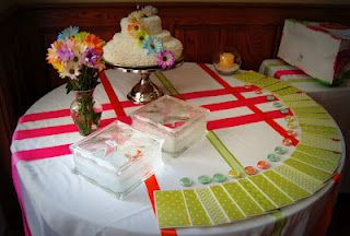 S Event Planning. Cake table. Favor table. Orange and Pink wedding
