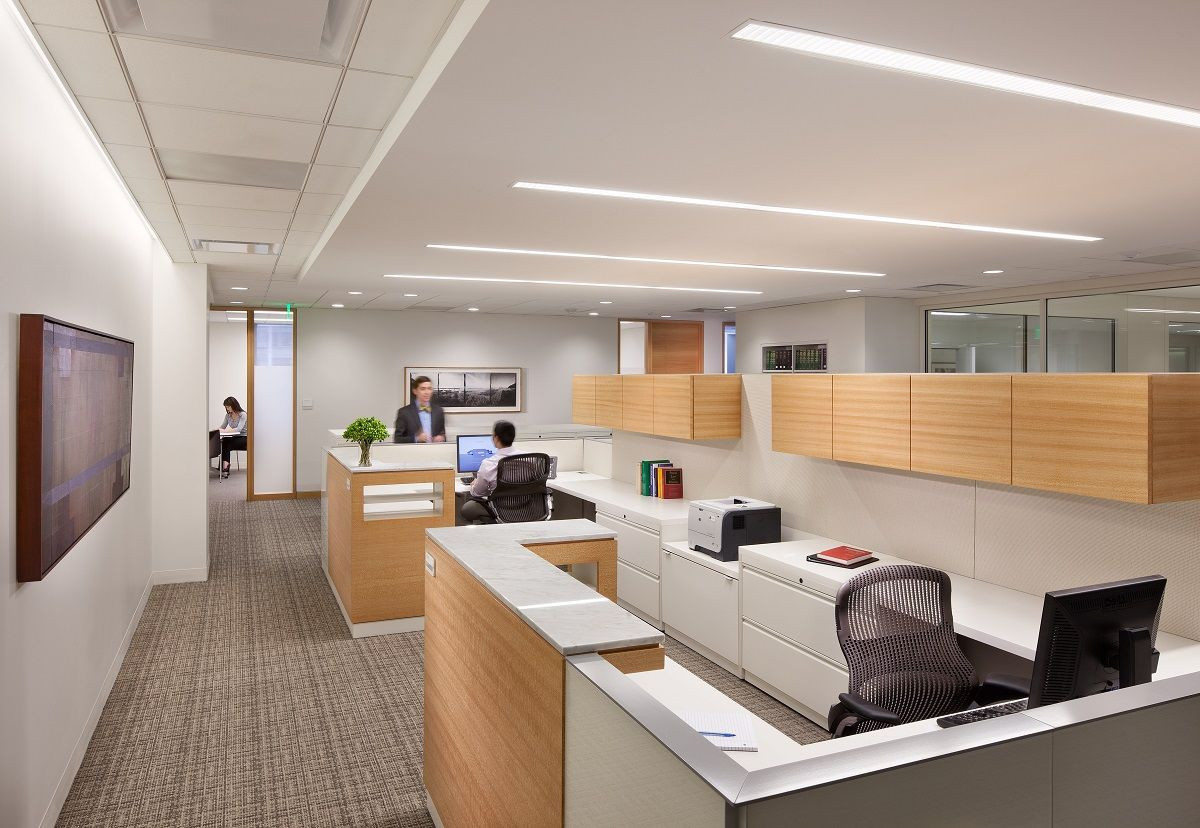 Office Lighting Design In Staff Room With Long Recesssed Ceiling Lamp Ideas Office Lighting Design Modern Office Lighting Office Interior Design