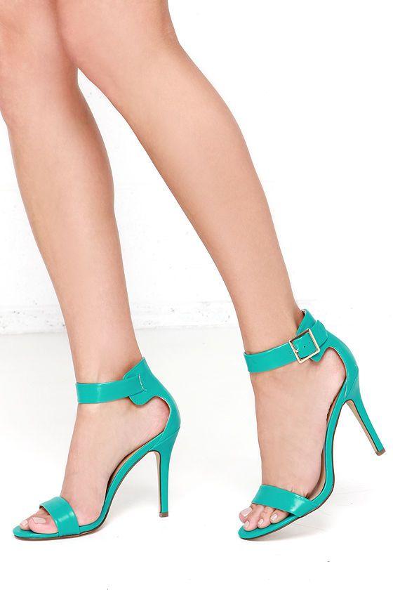 1e3f442a5591 Enjoy the Show Aqua Ankle Strap Heels at Lulus.com!