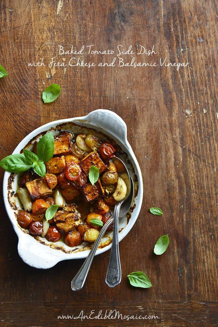 Baked tomato side dish with feta cheese and balsamic