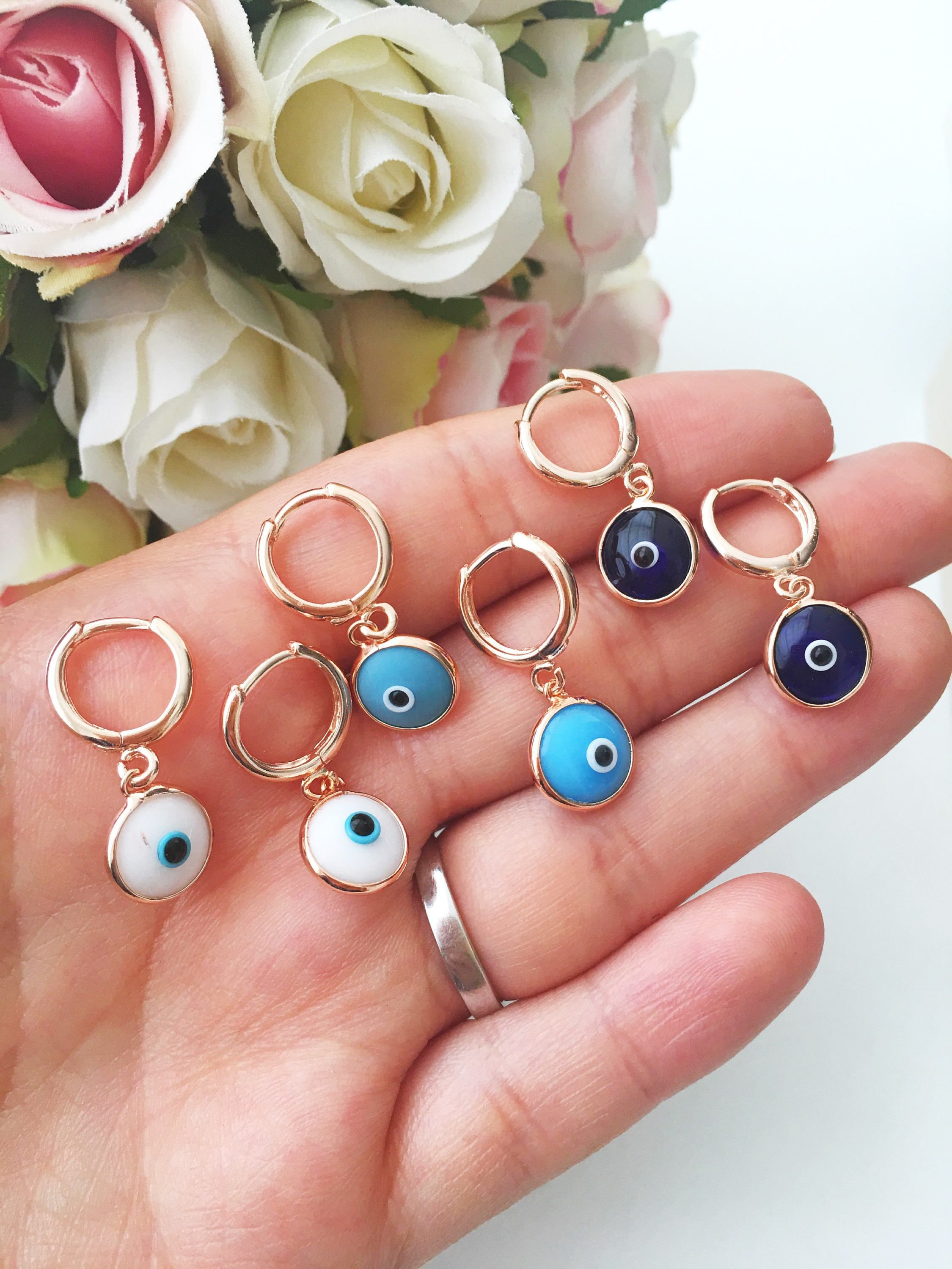 Turquoise hoop earrings | Evil eye earrings, Evil eye and Gold hoops