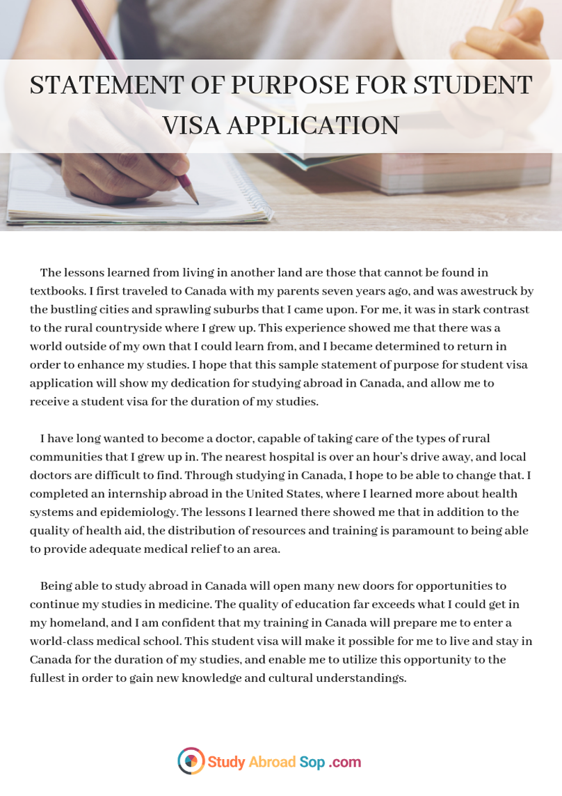 Pin by Study Abroad SoP Pictures on Sample Statement of Purpose for Student Visa Application