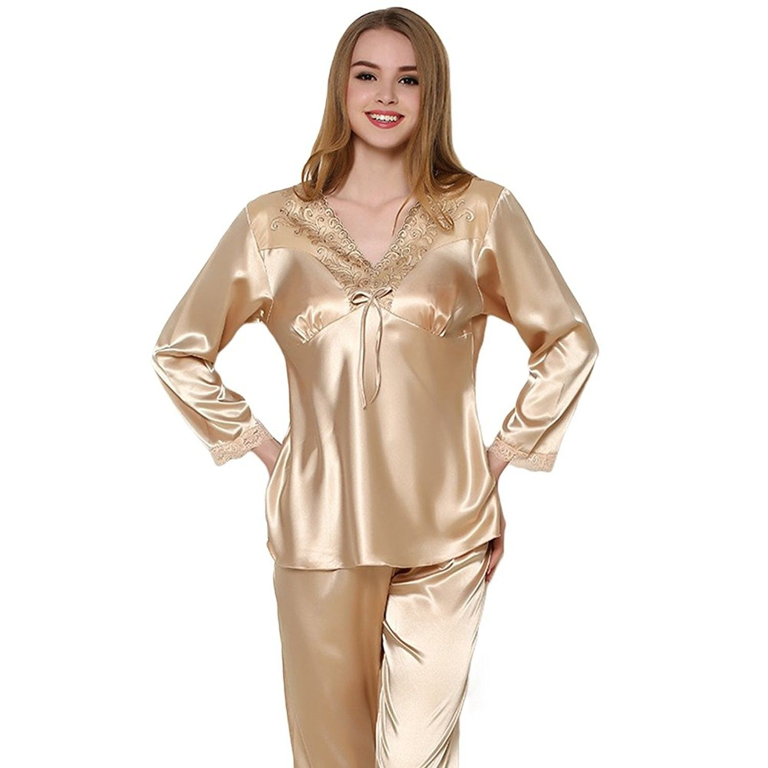 8fe7aedcc9c2 Men s Gold Color Classic Satin Couples Pajamas - Goldw - C612O5BW2RU ...