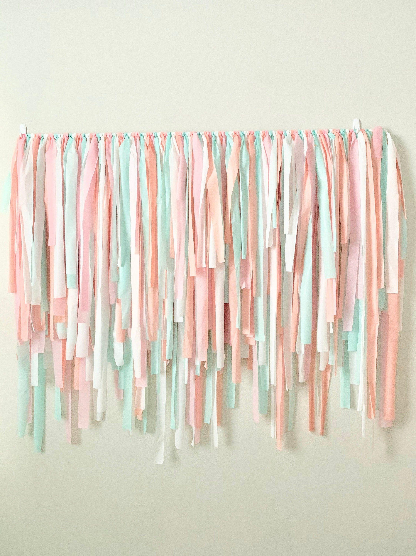 Streamer Backdrop ~ Pink, Peach, Aqua, White ~ Fringe Backdrop ~ Plastic Tablecloth Backdrop ~ Fully Assembled ~ Streamer Wall ~ Party Decor
