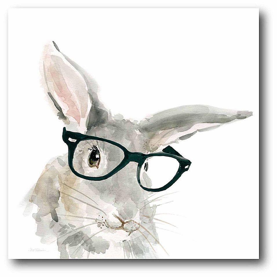 Courtside Market Cute Critter Rabbit 12-Inch Square Canvas Wall Art