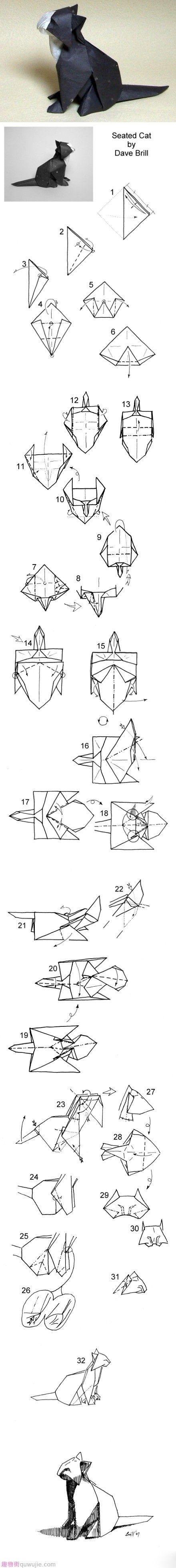 Origami Seated Cat Catpaper Pinterest And Craft Kusudama Diagrams