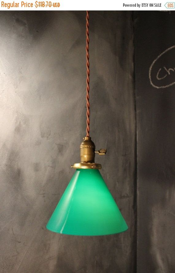 Vintage Gaming Pendant Light With Green Glass Cone Shade