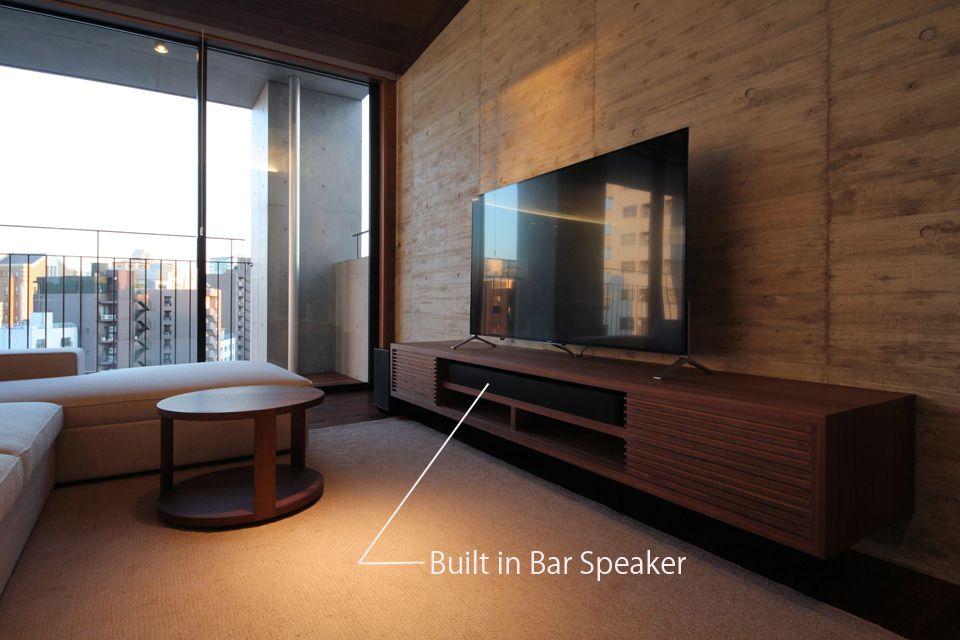 壁掛けテレビとtvボードのコンセント 壁掛けテレビ 壁面収納
