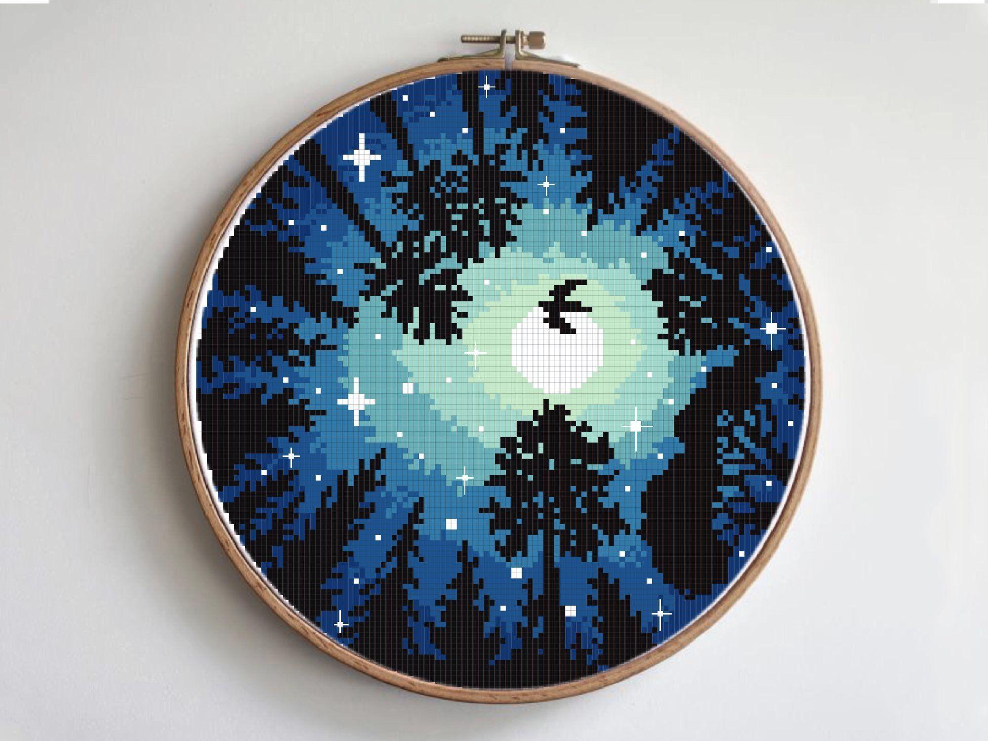 Watercolor Landscape Cross Stitch Pattern Night Starry Modern