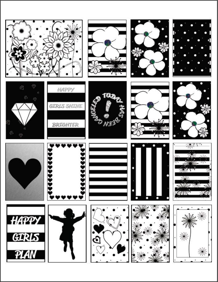 Classic Black + White Floral Full Box Printable Stickers