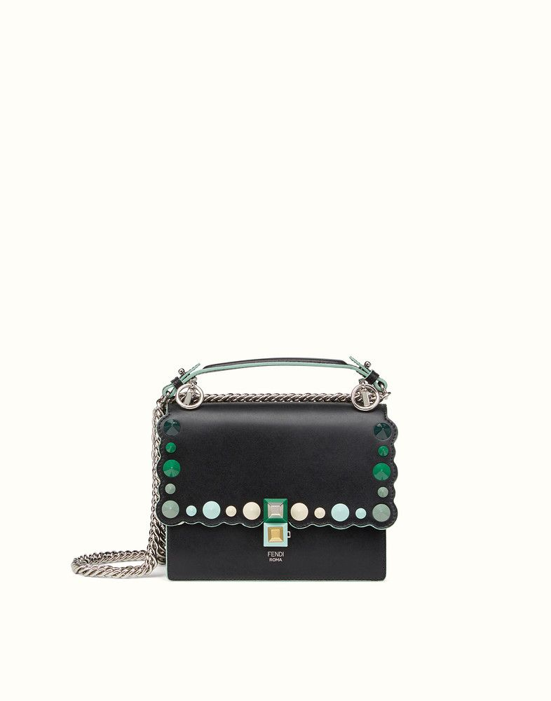 b537f740b5 Black and green leather mini bag - KAN I SMALL