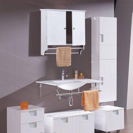 Yaheetech Bathroom/Kitchen Wall Mounted Cabinet White Double Door