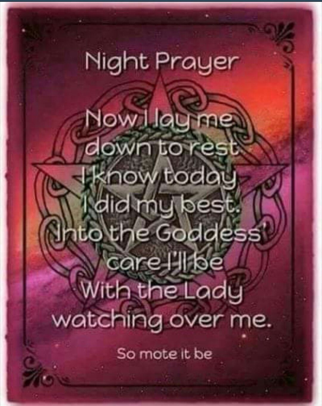Image result for wiccan prayer for sleep