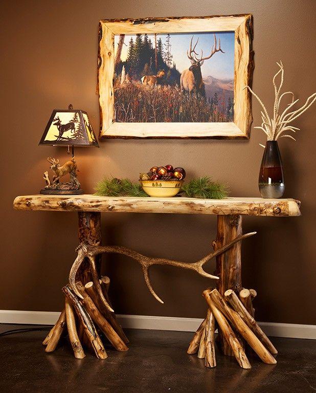 Aspen and elk antler log sofa table logs tables and for Aspen logs for decoration