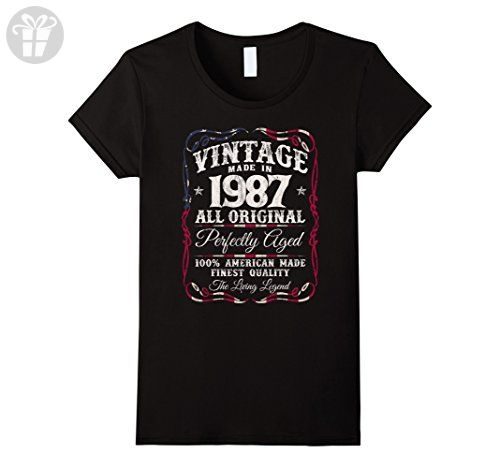 Womens Vintage USA Legends Made in 1987 T-Shirt 30th Birthday Gift Large Black - Birthday shirts (*Amazon Partner-Link)