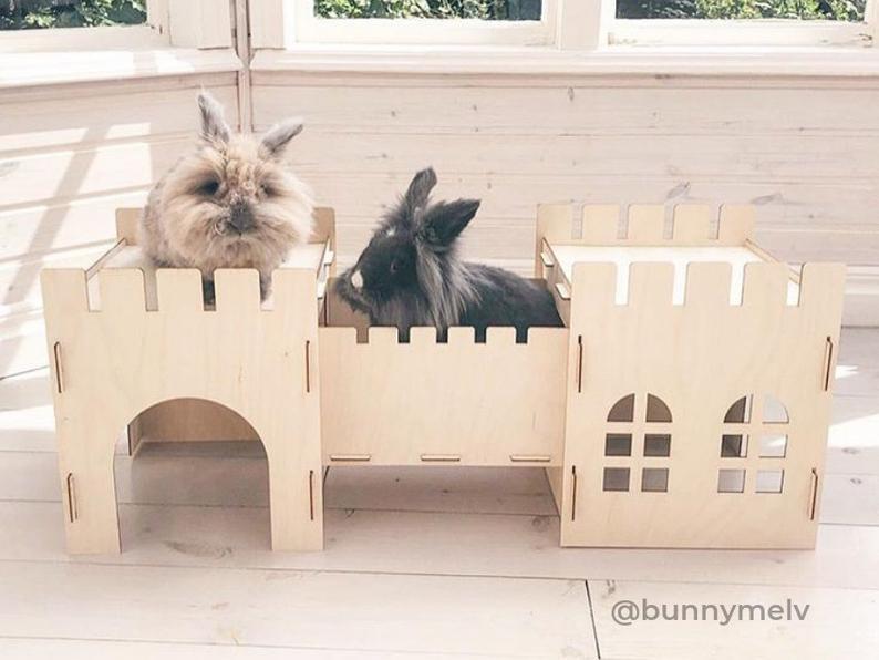 Wooden Rabbit Castle And Bridge Set Playhouse Hideout Hideaway Fort Wooden Rabbit Bunny House Indoor Rabbit House