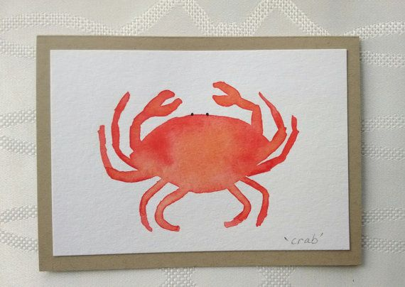 Hand Painted Watercolor Crab Greeting Card one of by thebeeandbug