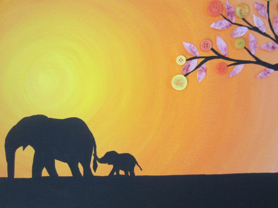 Elephant Mom And Baby Painting. Acrylic Paint On Canvas With