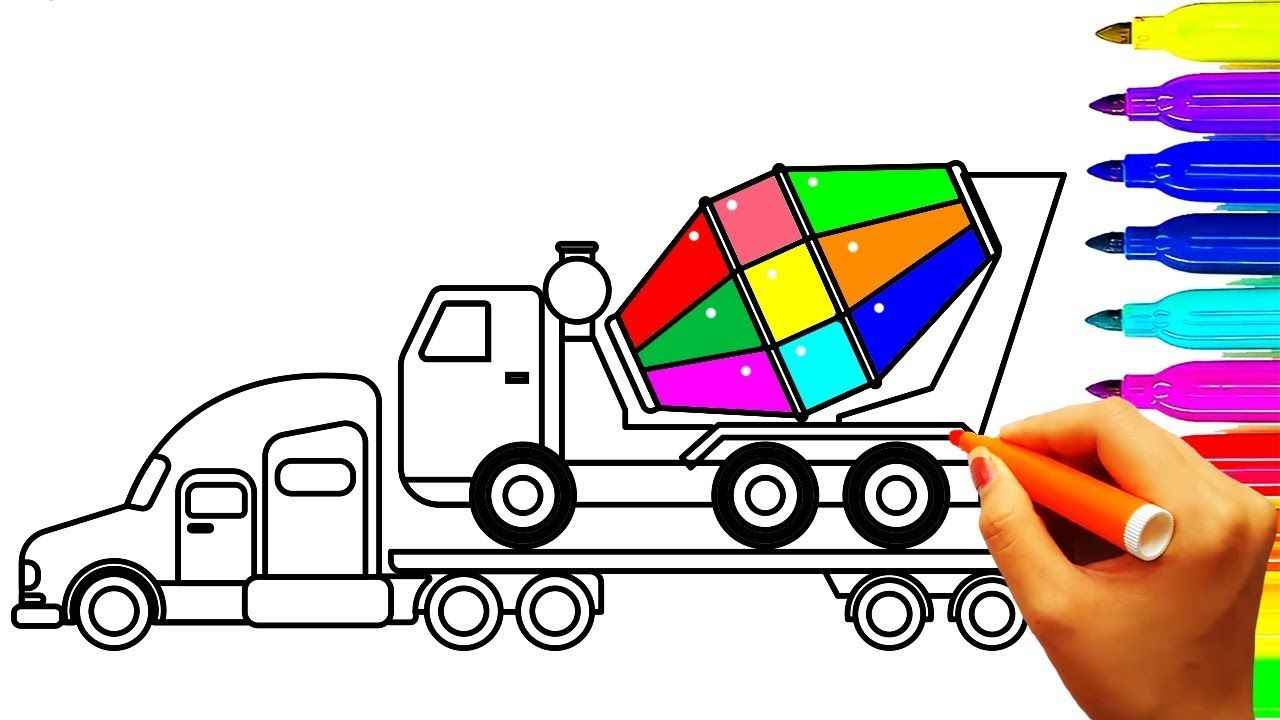 Mixer Truck Carrier Container Coloring Pages Construction Truck