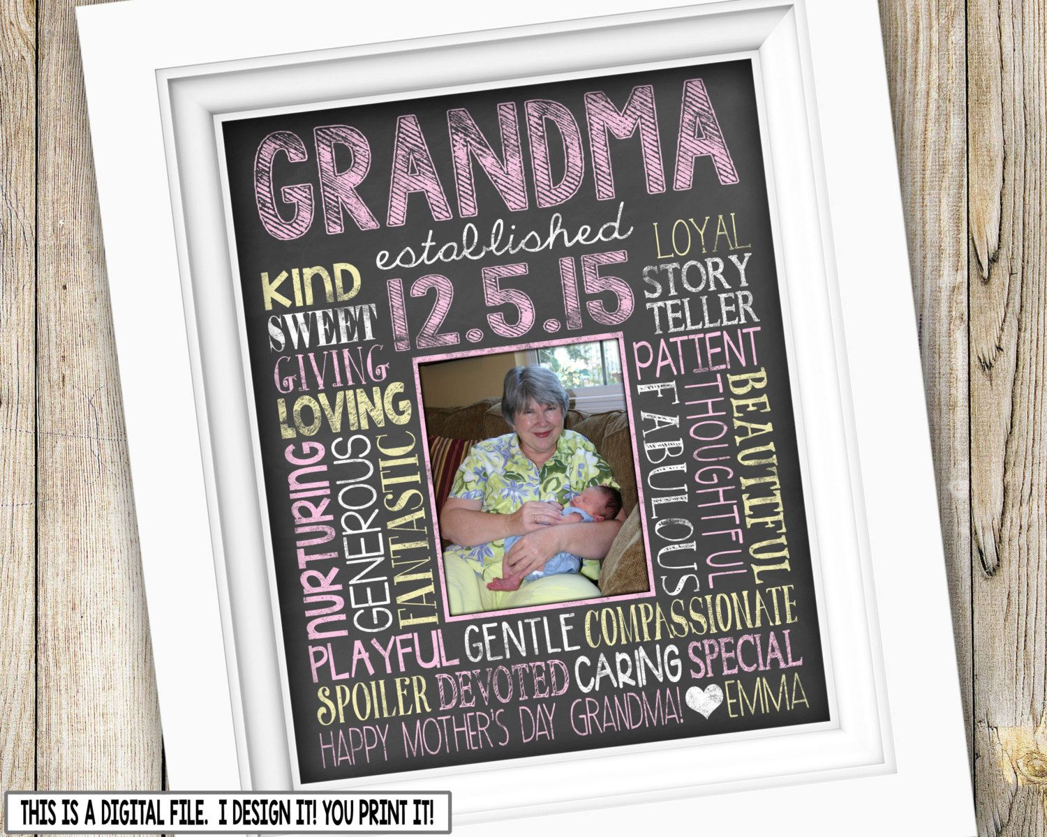 Mother/'s Day Frame Gift For Grandparents Grandmother Frame Grandchildren Picture Frame Grandparents Gift Custom Picture Frame