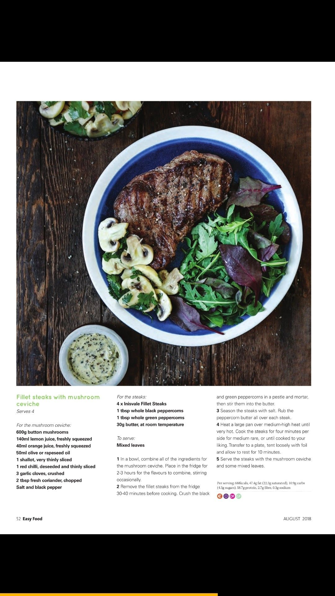 Fillet Steaks With Mushroom Ceviche Beef Recipes Fillet Steak Steak And Mushrooms