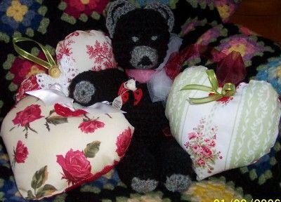 Red heart lavender sachets with black crochet bear