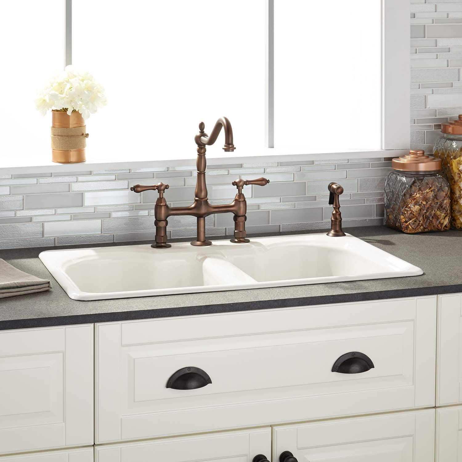 32 Berwick Double Bowl Cast Iron Drop In Kitchen Sink In White