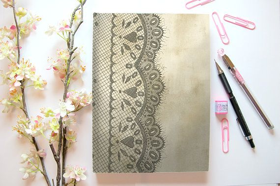Lace Print Note Book Notebook Gothic Vintage Coffee Stationery