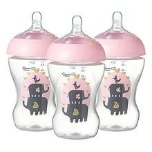 Tommee Tippee Pink Decorated Bottles Tommee Tippee 3 Pack Ultra Decorated Bottles  Pink  Bottle Pink