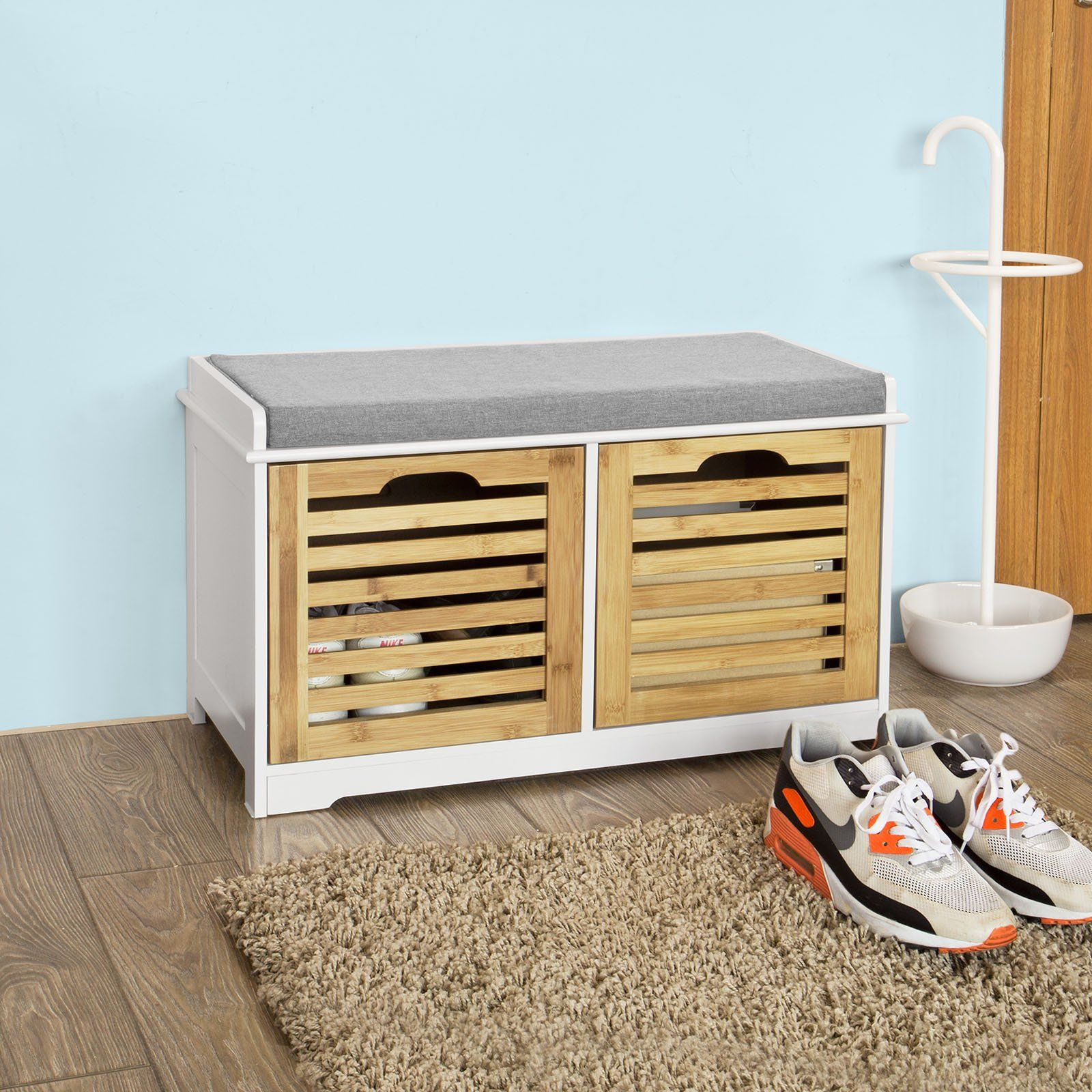 Remarkable Haotian Fsr23 K Wn Storage Bench With 2 Drawers Padded Pdpeps Interior Chair Design Pdpepsorg