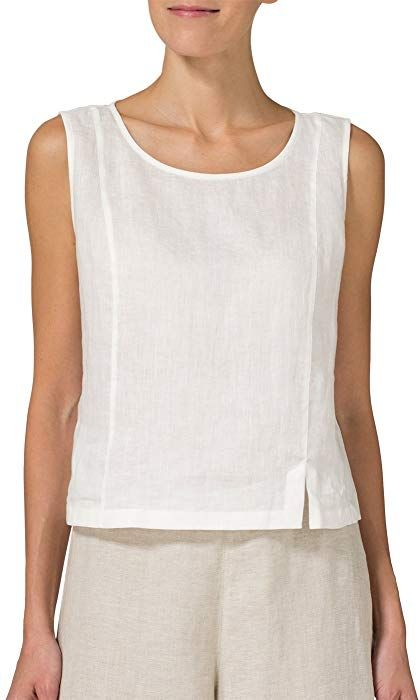 Vivid Linen Sleeveless Short Tank-XS-Off White at Amazon Women's Clothing store: