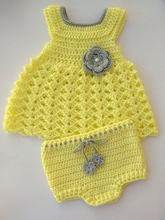 Vestido y pañales cubierta en crochet-Ideal para regalos de bebé y ...