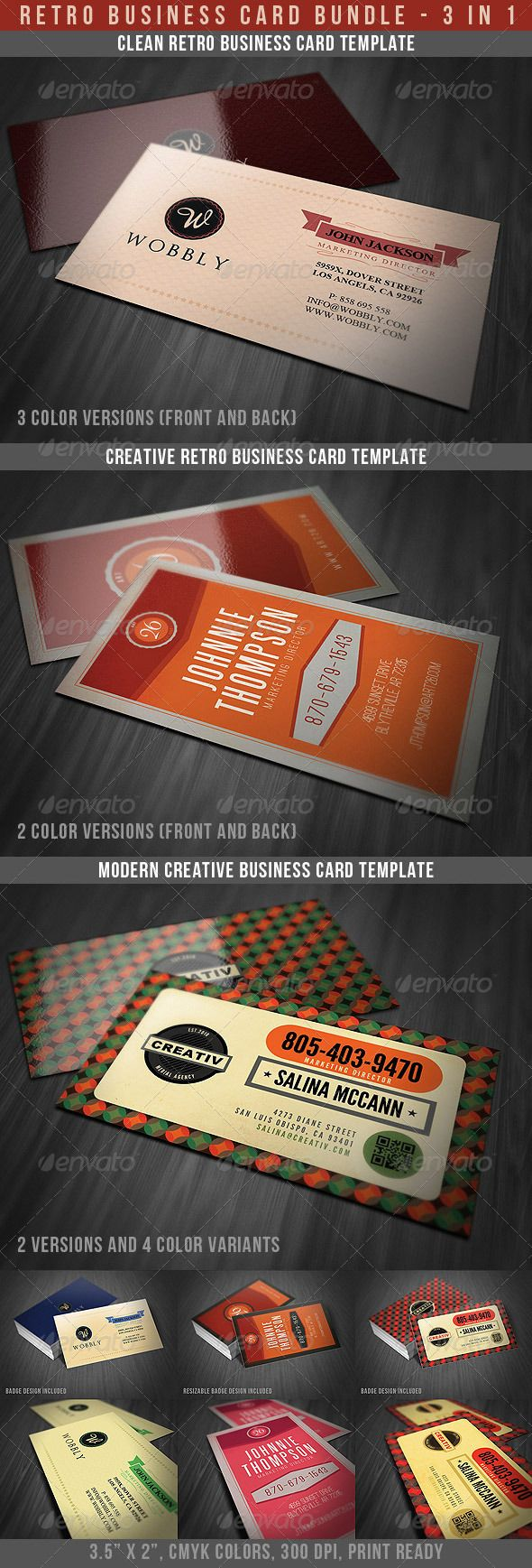 Retro Business Cards Bundle | Business cards, Unique business cards ...