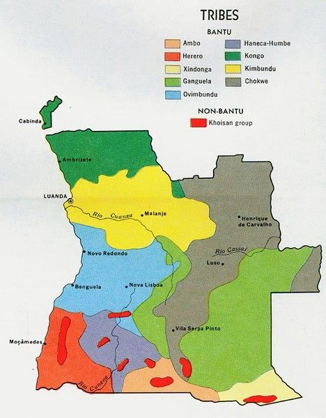 Africa Map Angola.Angola Tribes Map Shows Ovambo Ambo District In The South