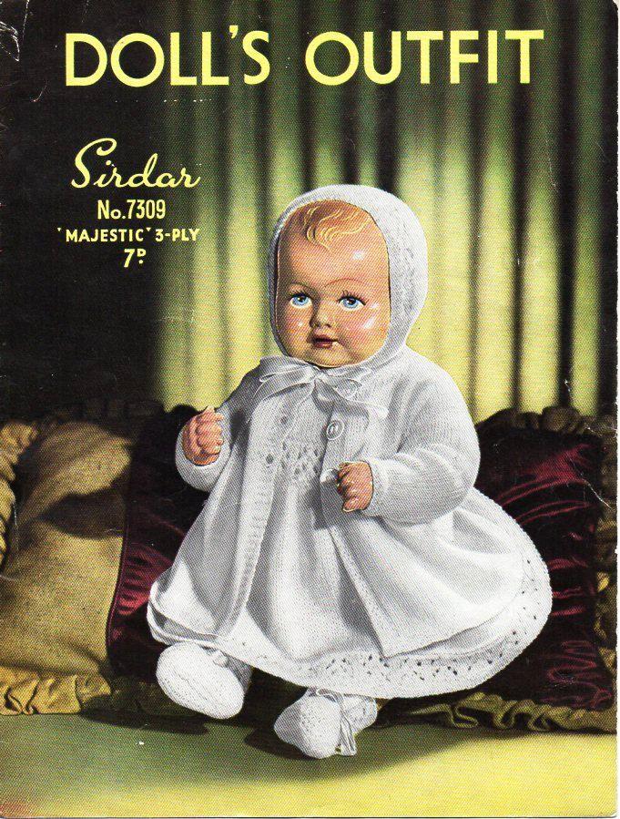 vintage Baby Doll Clothes Knitting Pattern PDF Dolls dress coat ...