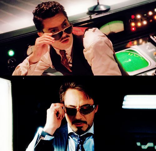 12010e7fd41 Howard Stark and Tony Stark. Howard would be so disappointed in his son.