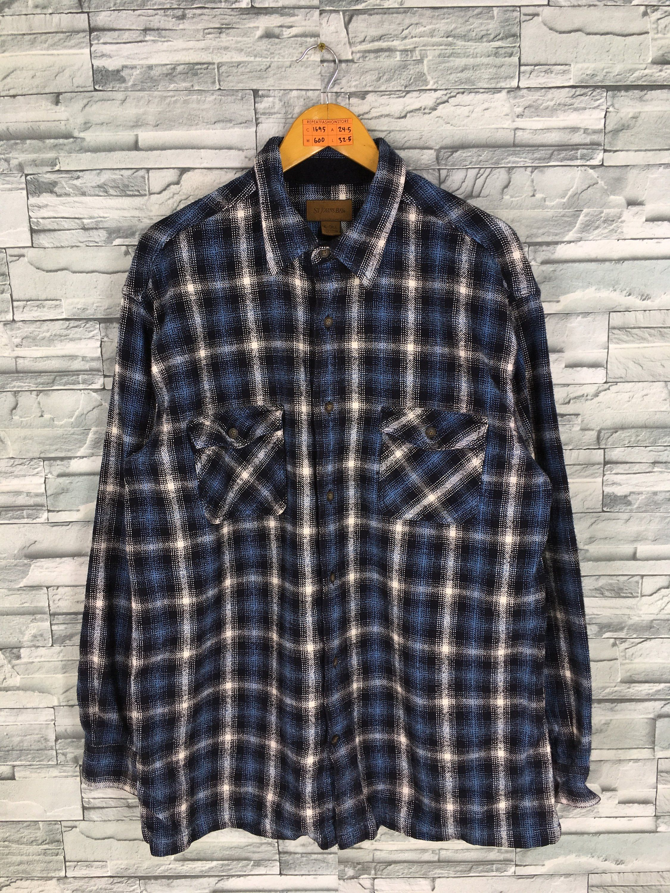 69f964813 Vintage St John Bay Flannel Shirt XLarge 90's Plaid Checkered Shadow  Flannel Blue Distressed Flannel Rustic
