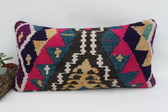 12x24 Needlepoint Kilim Pillow,Home decor Pillow,Pillow Cover,Geometric Pillow,Throw Pillow,Chair Pi